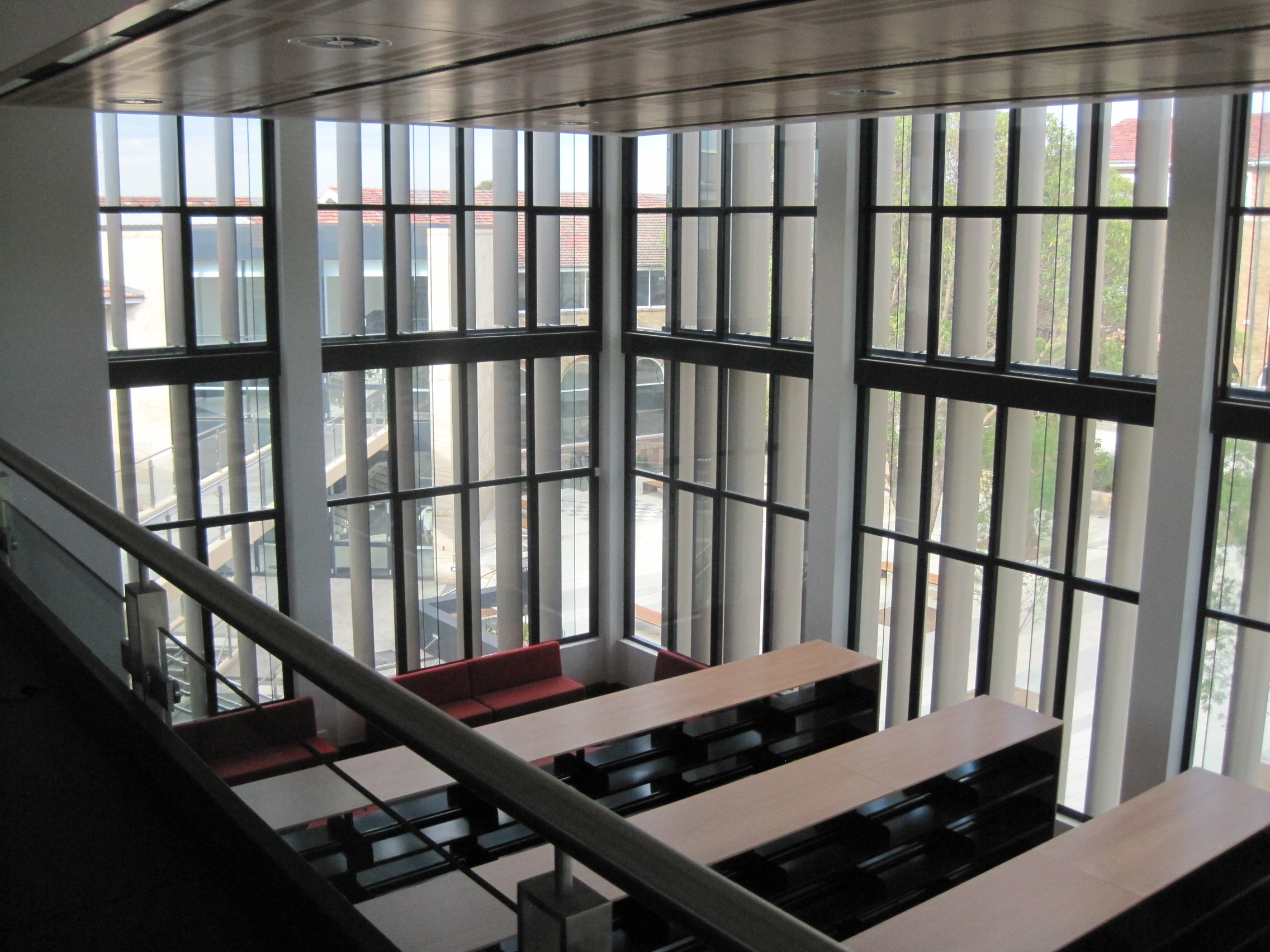 Inner Curtain Wall : View from inside the curtain wall façade built on